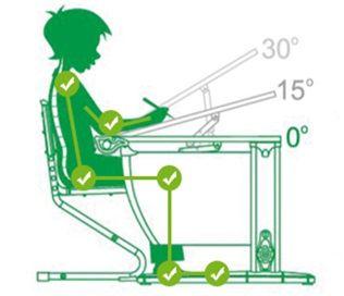 Изображение правильного расположения за столом