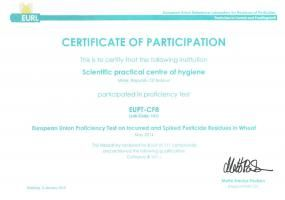Certificate of Participation, EUPT-CF8 (2015)