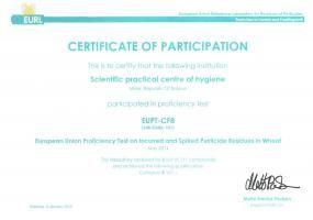 Certificate of Participation, EUPT-CF8 (2015)